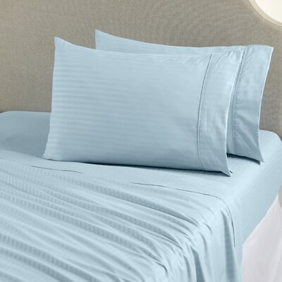 Ava Double Brushed Luxury Stripe Sheet Set Size: King, Color: Serenity Blue