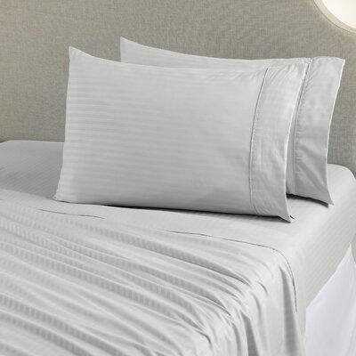 Ava Double Brushed Luxury Stripe Sheet Set Size: King, Color: Gray
