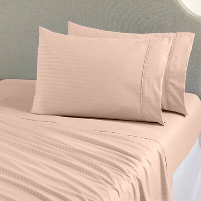 Ava Double Brushed Luxury Stripe Sheet Set Size: Twin, Color: Peach