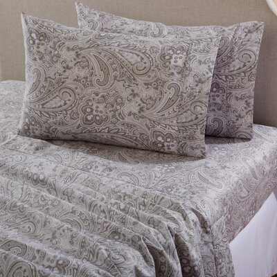 Sinclair Paisley 300 Thread Count Cotton Sheet Set Size: Queen, Color: Gray