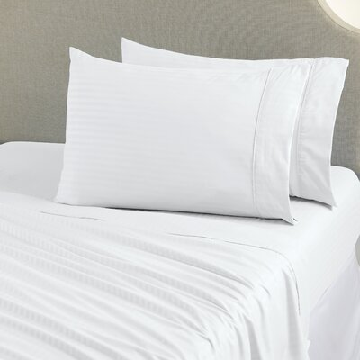 Ava Double Brushed Luxury Stripe Sheet Set Size: Queen, Color: Optic White