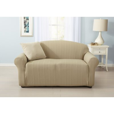 Darla Cable Knit Box Cushion Loveseat Slipcover Upholstery: Flax