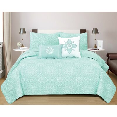 Kiara Quilt Set Size: Full/Queen, Color: Mint Green
