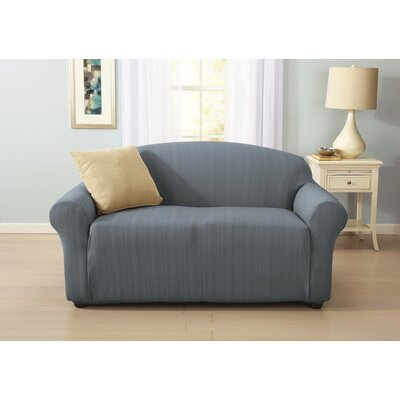 Darla Cable Knit Box Cushion Loveseat Slipcover Upholstery: Stone Blue