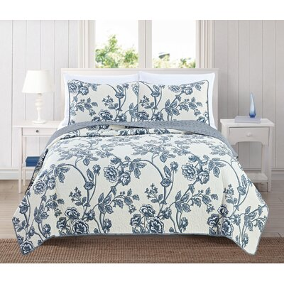 Sharon Reversible Quilt Set Size: King, Color: Ivory