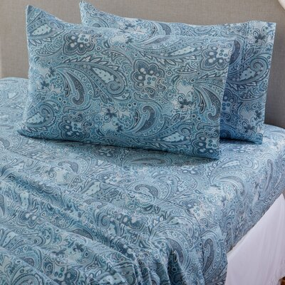 Sinclair Paisley 300 Thread Count Cotton Sheet Set Color: Citadel Blue, Size: King