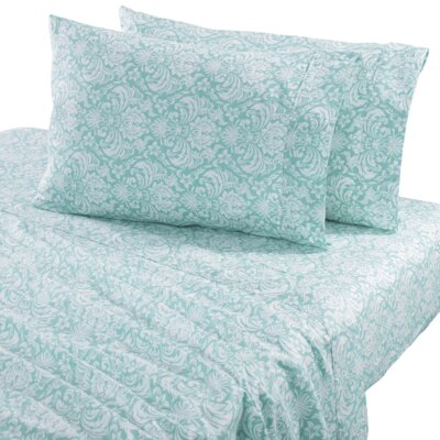 Sinclair Damask 300 Thread Count Cotton Sheet Set Color: Surf, Size: Queen