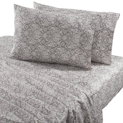 Sinclair Damask 300 Thread Count Cotton Sheet Set Size: Queen, Color: High Rise Gray