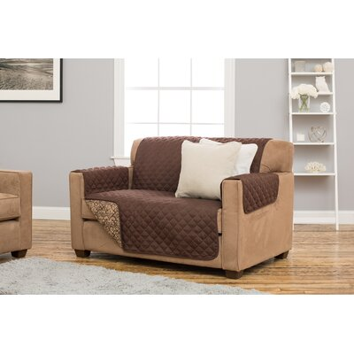 Katrina Box Cushion Loveseat Slipcover Upholstery: Chocolate