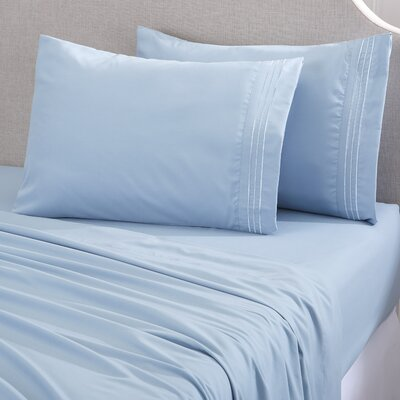 Damascus Embroidered Double Brushed Luxury Sheet Set Size: Full, Color: Sterling Blue