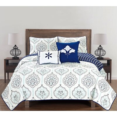 Cassidy 5 Piece Reversible Quilt Set Size: King, Color: Navy