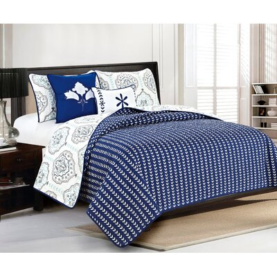 Cassidy Quilt Set Size: Full/Queen, Color: Navy