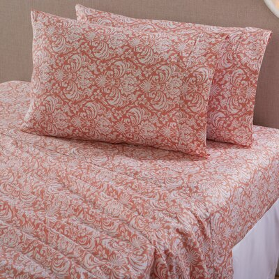 Sinclair Damask 300 Thread Count Cotton Sheet Set Size: Queen, Color: Muted Clay