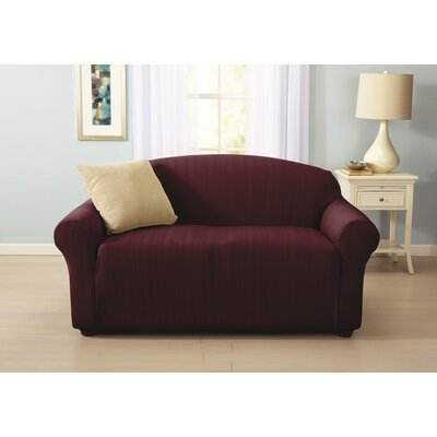 Darla Cable Knit Loveseat Slipcover Upholstery: Wine