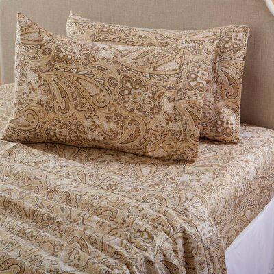 Sinclair Paisley 300 Thread Count Cotton Sheet Set Color: Timber Wolf, Size: Queen