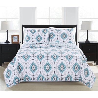 Sasha Quilt Set Size: Twin, Color: Aquifer