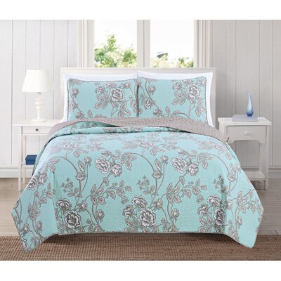 Sharon Reversible Quilt Set Color: Icy Morn, Size: King