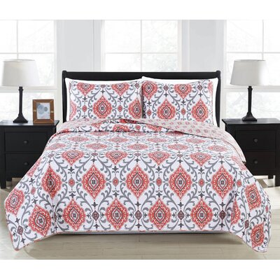 Sasha 3 Piece King Reversible Quilt Set Color: Burnt Coral