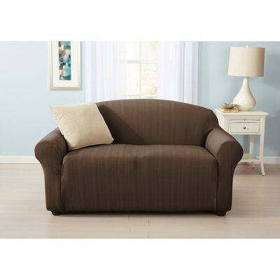 Darla Cable Knit Box Cushion Loveseat Slipcover Upholstery: Chocolate