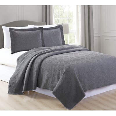 Vanessa Quilt Set Size: Twin, Color: Medium Gray
