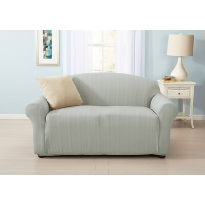 Darla Cable Knit Box Cushion Loveseat Slipcover Upholstery: Gray