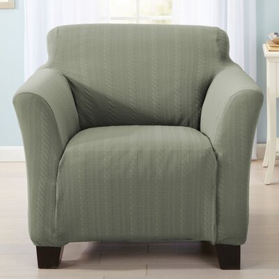 Darla Cable Knit Armchair Slipcover Upholstery: Tea Green