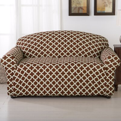 Brenna Box Cushion Loveseat Slipcover Upholstery: Chocolate
