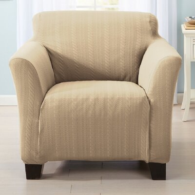 Darla Box Cushion Armchair Slipcover Upholstery: Flax
