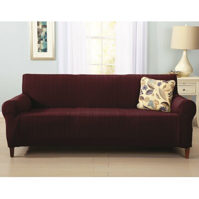 Darla Cable Knit Sofa Slipcover Upholstery: Wine