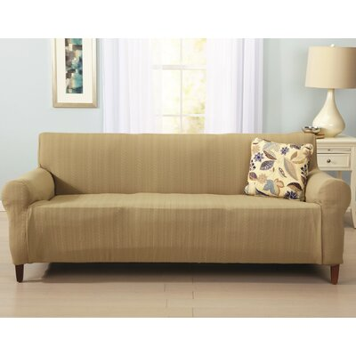 Darla Cable Knit Sofa Slipcover Upholstery: Flax