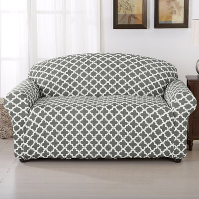 Brenna Box Cushion Loveseat Slipcover Upholstery: Charcoal
