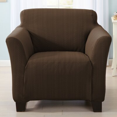 Darla Box Cushion Armchair Slipcover Upholstery: Chocolate