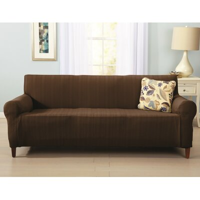 Darla Box Cushion Sofa Slipcover Upholstery: Chocolate