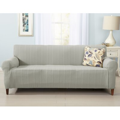 Darla Cable Knit Sofa Slipcover Upholstery: Gray
