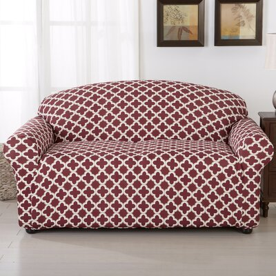 Brenna Box Cushion Loveseat Slipcover Upholstery: Burgundy
