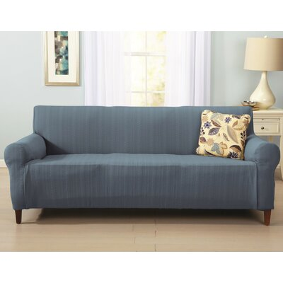 Darla Cable Knit Sofa Slipcover Upholstery: Stone Blue