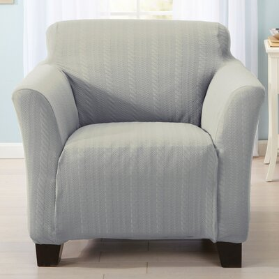 Darla Cable Knit Armchair Slipcover Upholstery: Gray