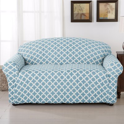 Brenna Box Cushion Loveseat Slipcover Upholstery: Blue