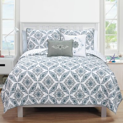 Melody Quilt Set Color: Gray, Size: King