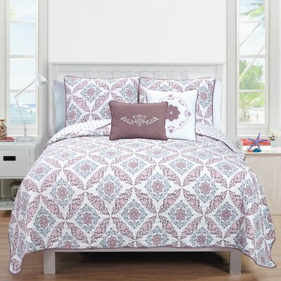 Melody Quilt Set Size: King, Color: Rose