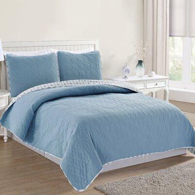 Bedford Reversible Quilt Set Size: Twin, Color: Blue Fog