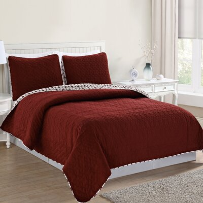Bedford Reversible Quilt Set Size: Full/Queen, Color: Burnt Russet