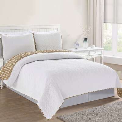 Bedford Reversible Quilt Set Size: Twin, Color: Optic White