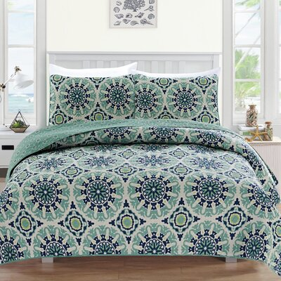Delano Reversible Quilt Set Size: Twin, Color: Blue/Green