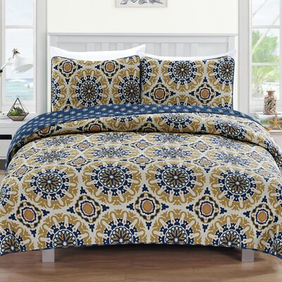 Delano Reversible Quilt Set Size: Full/Queen, Color: Blue/Taupe