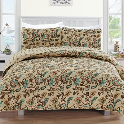 Miranda Reversible Quilt Set Size: Twin, Color: Chocolate