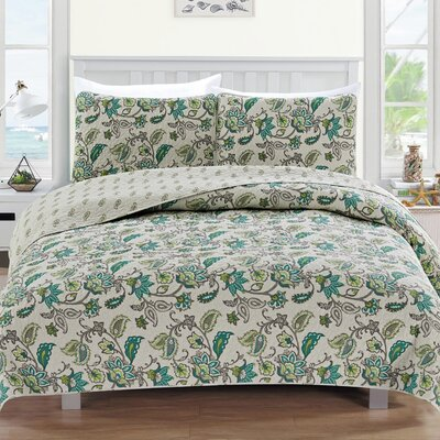 Miranda Reversible Quilt Set Size: Twin, Color: Green