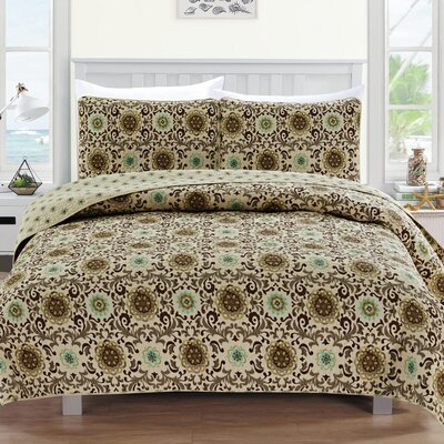 Samantha Reversible Quilt Set Size: Twin, Color: Taupe