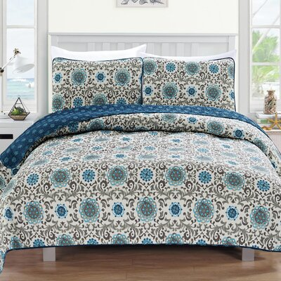 Samantha Reversible Quilt Set Size: King, Color: Blue