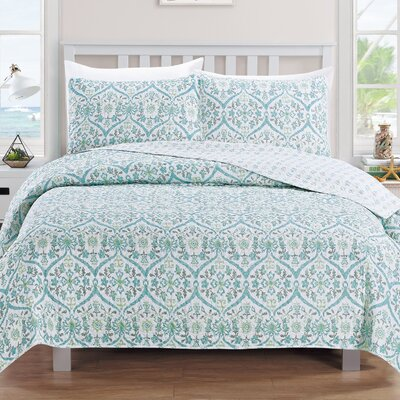 Cassandra Reversible Quilt Set Size: King, Color: Blue